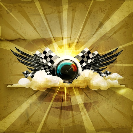 sports race emblem: Speedometer emblem, old-style background