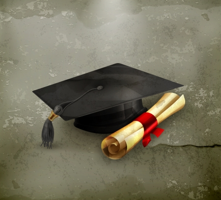 bachelor: Graduation cap and diploma, old-style Illustration