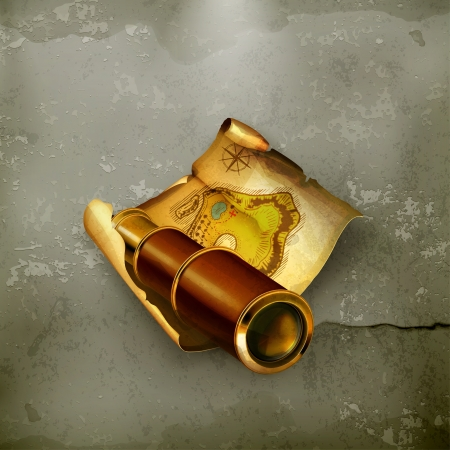 Old map and spyglass, old-style