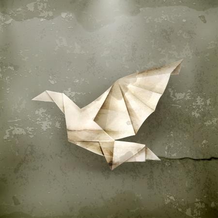 paloma caricatura: Paloma de papel, de estilo antiguo Vectores