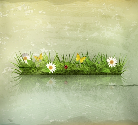 Spring grass, old-style Stock Vector - 15808463
