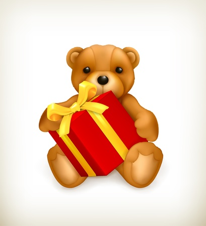 Teddy bear with gift Stock Vector - 16145542