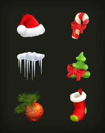 christmas sock: Christmas set on black