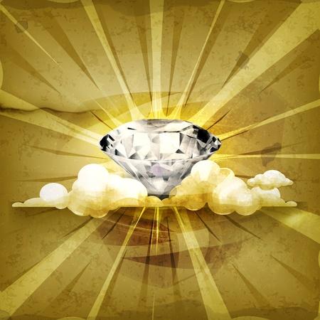 style wealth: Diamond, old-style background Illustration