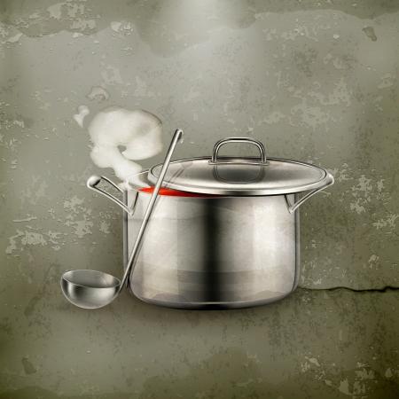 soup spoon: Hete soep, oude stijl Stock Illustratie