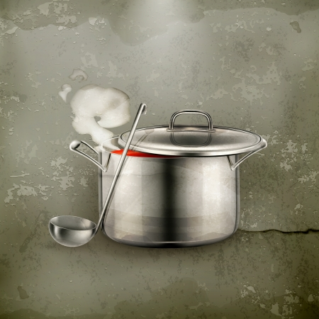 old kitchen: Hot soup, old-style