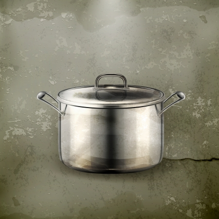 soup pot: Pan, old-style Illustration