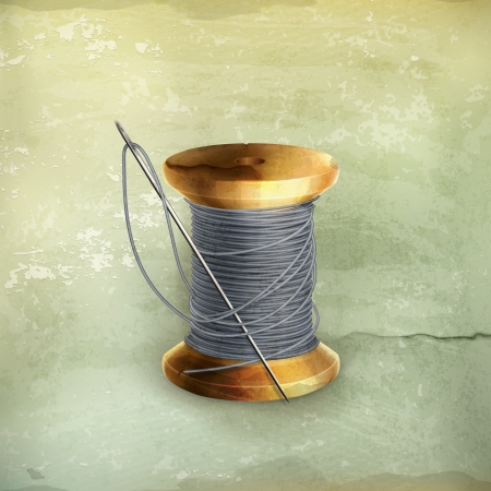 knutsel spullen: Spoel van draad, oude stijl Stock Illustratie