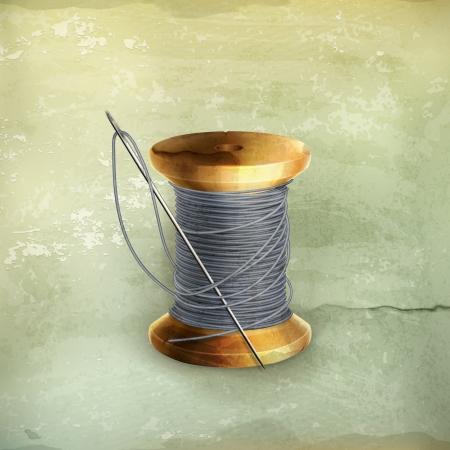 bobbin: Spool of thread, old-style