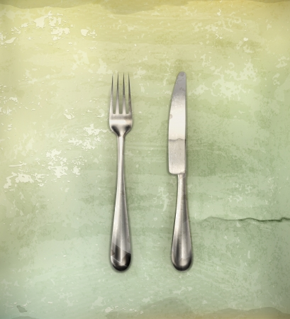 grunge silverware: Table knife and fork, old-style
