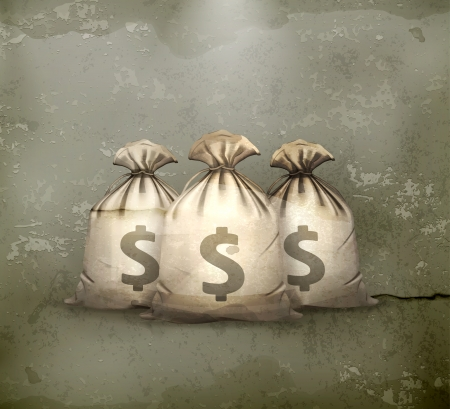 bag of soil: Three bags of money, old-style
