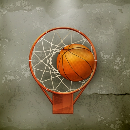dirt background: Basketball icon, old-style