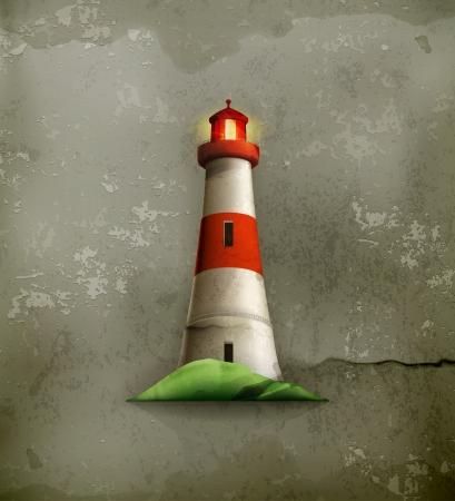 maritime: Lighthouse, old-style Illustration