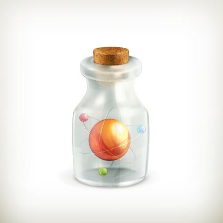 pocion: Atom en una botella, icono Vectores