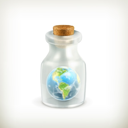 Earth in a bottle, icon Stock Vector - 16728111