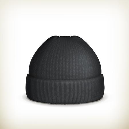 Gestrickte schwarze Kappe