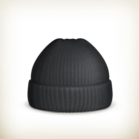 beanie: Knitted black cap Illustration