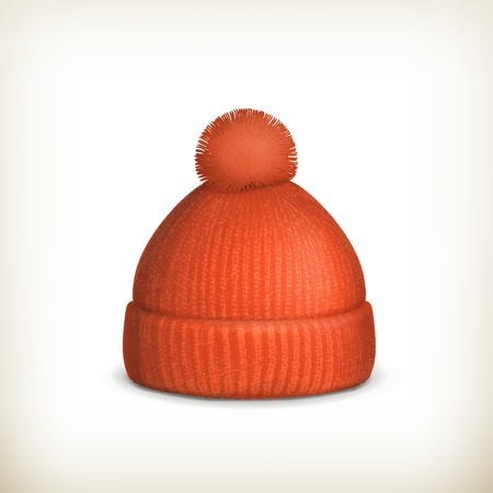 winter sport: Knitted red cap Illustration