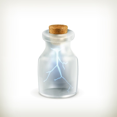 Lightning in a bottle, icon Vector