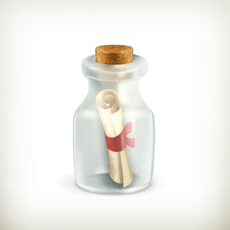 message in a bottle: Message in a bottle, icon Illustration