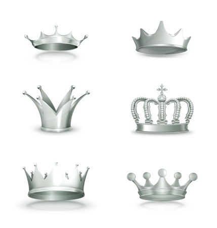 Silver crowns, set Stock Vector - 16728116