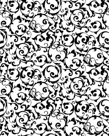 damast: Schwarz nahtlose Muster, Silhouette Illustration