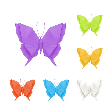Origami butterflies, set Vector