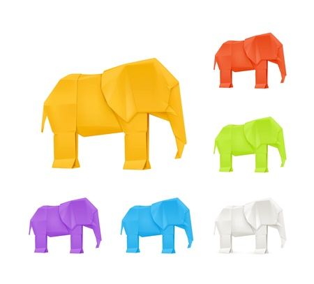 3d paper art: Origami elephants, set