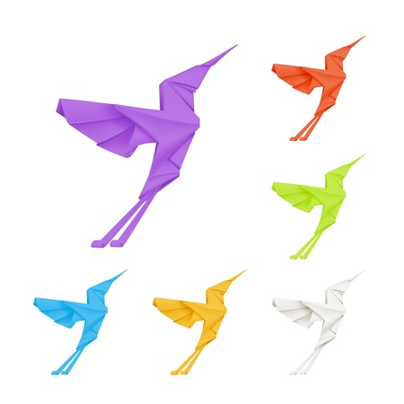 Origami hummingbirds, set Vector
