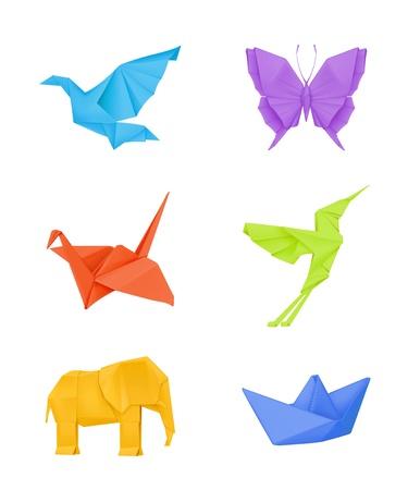 uccello origami: Origami set, multicolore