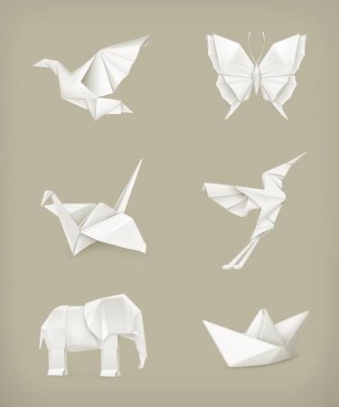 paloma caricatura: Origami set, blanco