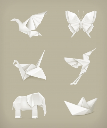 origami bird: Origami set, white