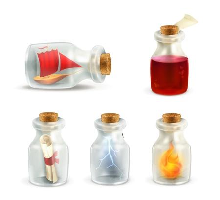 pocion: Juego de frascos