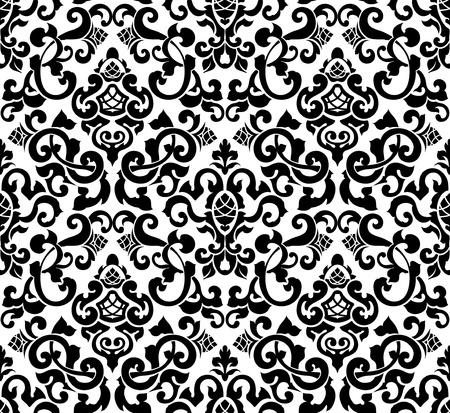 seamless damask: Negro sin patr�n, silueta