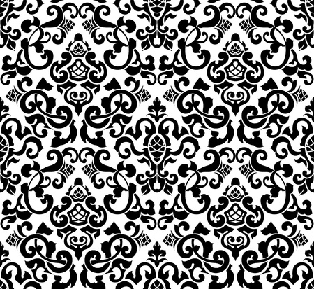 barok ornament: Zwarte naadloze patroon, silhouet