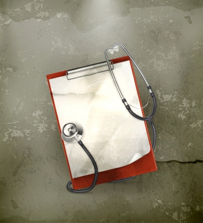 auscultation: Clipboard with stethoscope, old-style