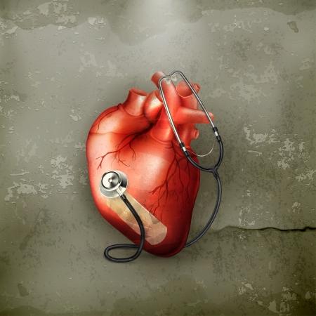 veine humaine: Coeur et st�thoscope, � l'ancienne