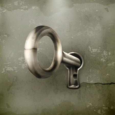 key hole: Key in keyhole, old-style