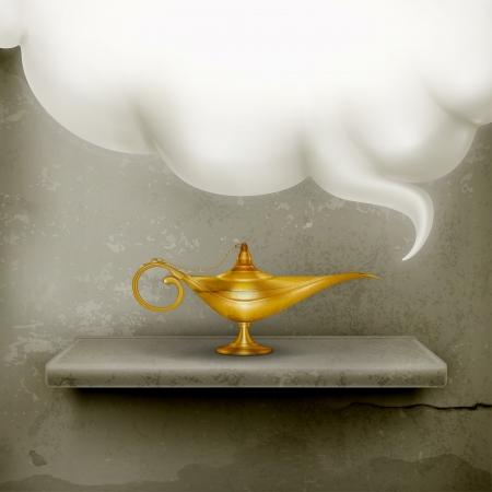 an oil lamp: Velón, de estilo antiguo Vectores