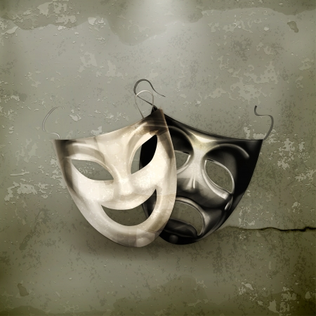 pantomime: Theater masks, old-style Illustration