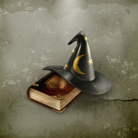 wizard hat: Asistente sombrero y libro viejo, de estilo antiguo Vectores