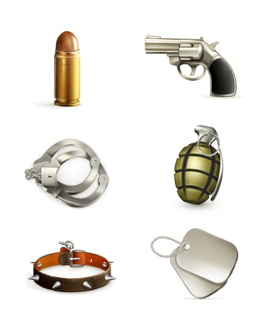 perro policia: Armas, icon set Vectores