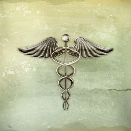 dirt background: Caduceus, old-style Illustration