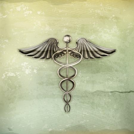 medical background: Caduceus, old-style Illustration
