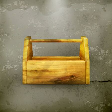 tool box: Empty wooden tool box old-style