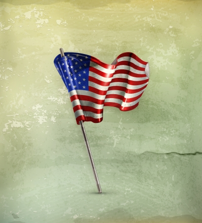 us grunge flag: Flag of the United States, old-style Illustration