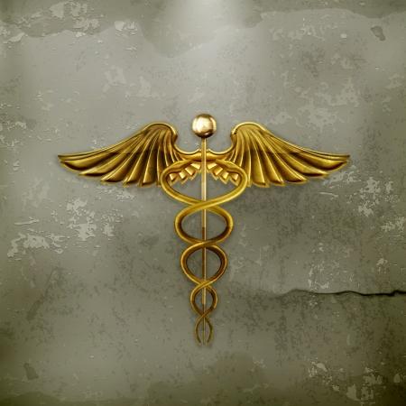 caduceo: Caduceo de oro, de estilo antiguo