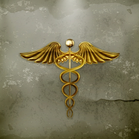 Golden Caduceus, old-style Vector
