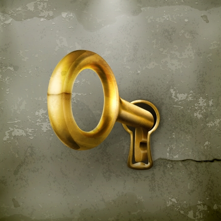 antique keyhole: Golden key, old-style