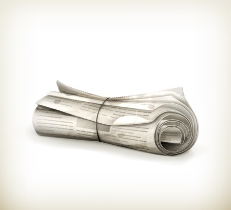 Rolled Newspaper, old-style isolated Vector